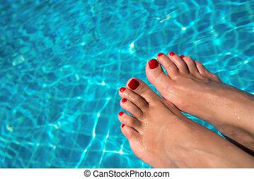 pies, pool., natación, azul, hembra, piernas, mujeres, water., relajante, traveling., verano, plano de fondo, sexy, hermoso