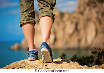 pies, zapatillas, hembra, tourism.
