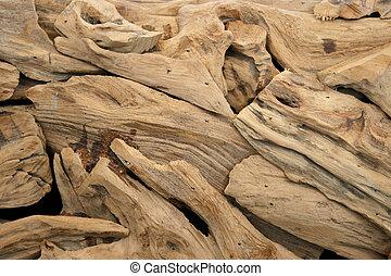 Piezas de madera seca ornamental