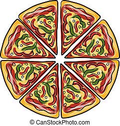 Piezas de pizza, bocetos para tu diseño