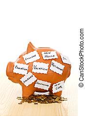 Piggy Bank con notas - ahorrando concepto