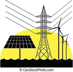 Pilón eléctrico, panel solar y turbinas de viento.