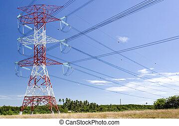 Pilón eléctrico y cables de energía