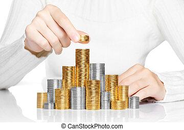 pila, concepto, mano, inversión, crecimiento, puesto, moneda, o