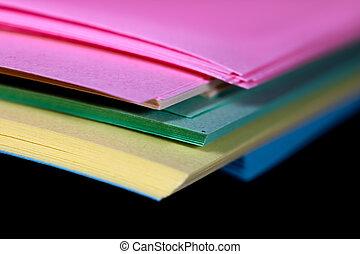 pila, papeles, plano de fondo, colorido, negro