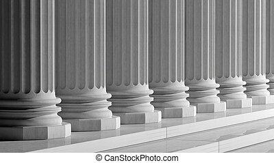 pilares, antiguo, mármol, fila, blanco