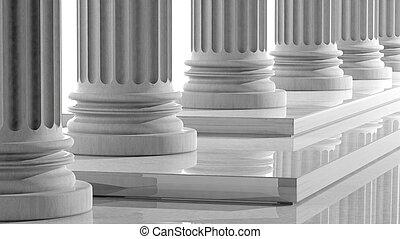 pilares, mármol, fila, pasos, blanco