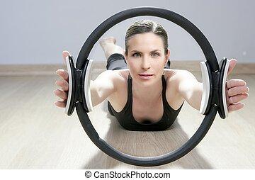 pilates, magia, gimnasio, mujer, aeróbicos, anillo, deporte