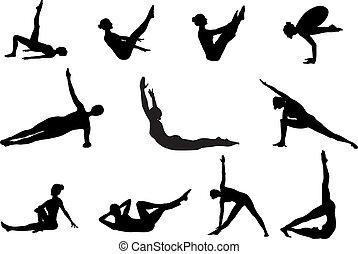 Pilates siluetas de ejercicio