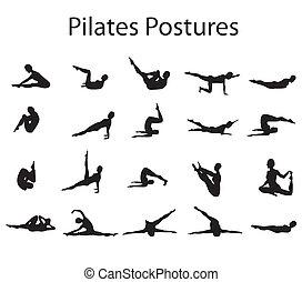 pilates, yoga posiciona, ilustración, posturas, 20, o