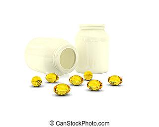 Pills sobre fondo blanco