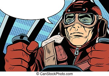 Piloto de Aviador Militar Retro