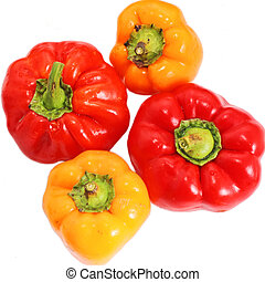 pimienta amarilla, rojo blanco, plano de fondo, paprika, aislado
