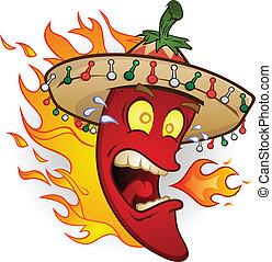 pimienta, carácter, chile caliente, caricatura