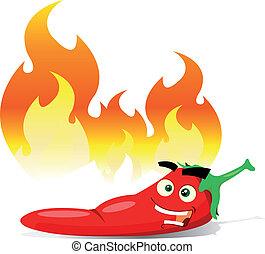 pimienta, chile, rojo caliente, caricatura