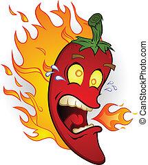 Pimienta picante en caricaturas de fuego