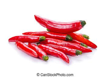 Pimienta roja en blanco