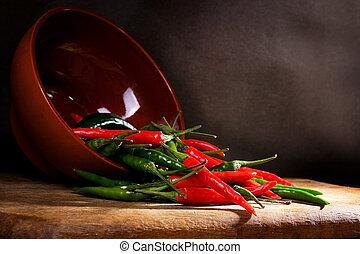 Pimienta roja y verde