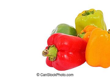 pimienta, rojo blanco, plano de fondo, paprika, aislado