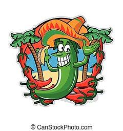 Pimiento mexicano con tacos