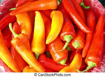 Pimientos calientes rojos