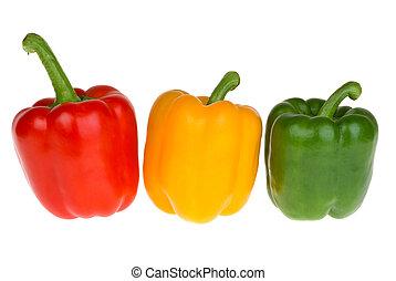 Pimientos rojos, amarillos y verdes