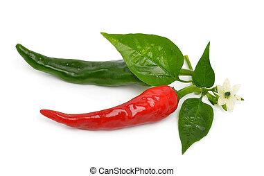 Pimientos rojos y verdes con hojas