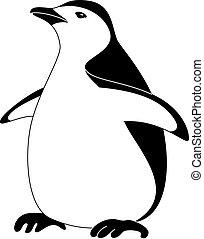 pingüino, emperador, silueta, pájaro