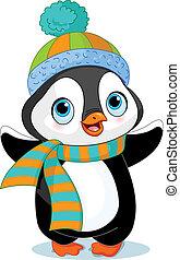 pingüino, invierno, lindo