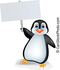 pingüino, señal, blanco