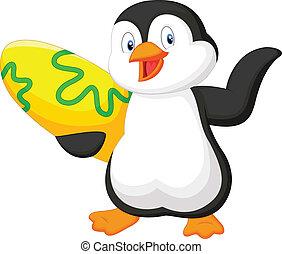 Pingüino sosteniendo tabla de surf
