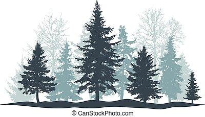 pino, bosque, vector, individuo, árbol hoja perenne, isolated., objects., árbol, navidad, separado, invierno, ilustración, árbol., parque