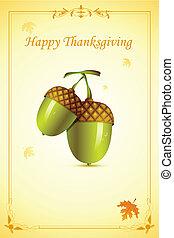 Pino en tarjeta de Acción de Gracias