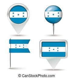 Pins de mapa con bandera de Honduras