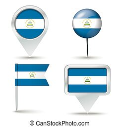 Pins de mapa con bandera de Nicaragua