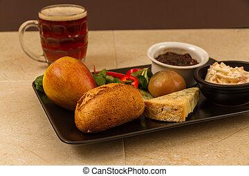 pinta, ploughmans, beer., stilton, almuerzo, inglés, mitad, queso