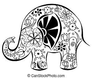 pintado, flowers., silueta, elefante