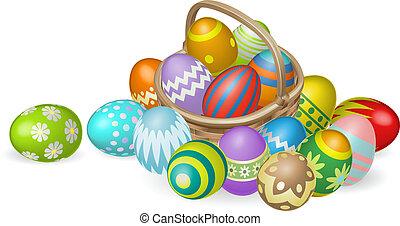 Pintado huevos de Pascua en ilustración de canastas