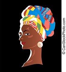 pintado, niña, africano, headscarf., plano de fondo, hermoso, negro, colorido