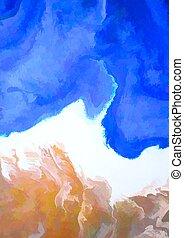 pintado, resumen, 1205, playa, acuarela, mano