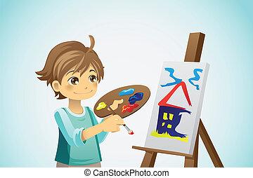 Pintar a un niño