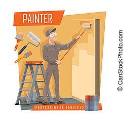pintar equipar herramienta, trabajo de la cámara, pintor, servicio