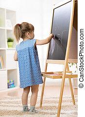 Pintar niños en la escuela.
