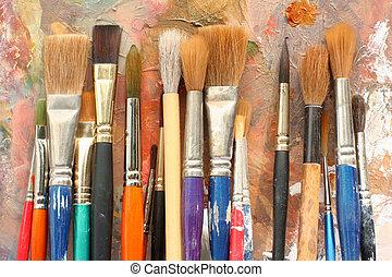 pinte paleta, cepillos, arte, y
