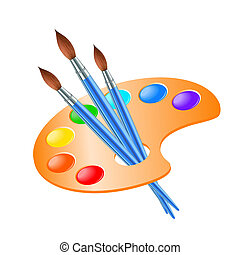 pinte paleta, pincel de arte, dibujo