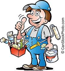 Pintor de mantenimiento, dejando el pulgar