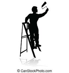 Pintor negro silueta