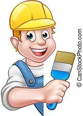Pintor y decorador de dibujos animados