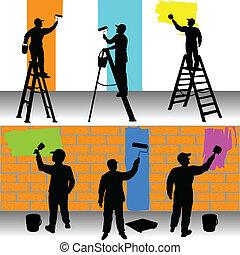 pintores, color, trabajadores, vario