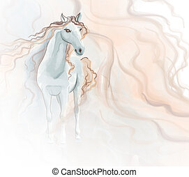 Pintura acuarela de caballo